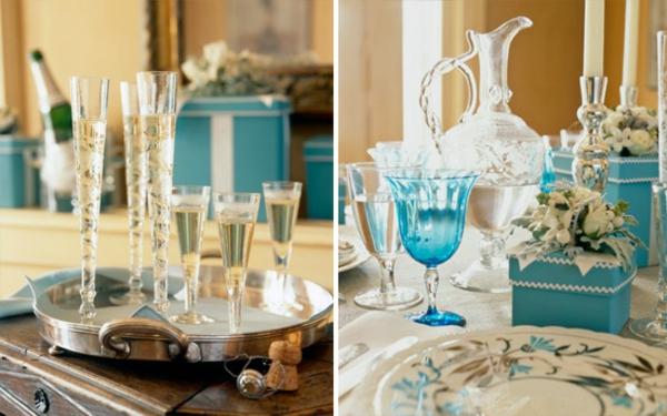 dekoration-in-türkis-farbe-zwei-interessante-bilder - viele gläser auf dem tisch