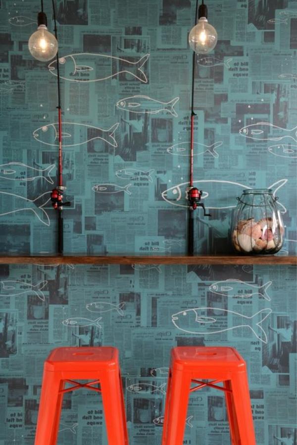 Tapeten Design F?r Badezimmer : design-tapeten-ideen-designer-tapeten-mit-fischen-tapeten-design-