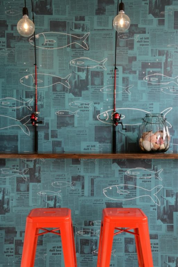 Design Tapeten Wandgestaltung : design-tapeten-ideen-designer-tapeten-mit-fischen-tapeten-design-