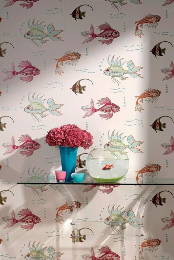 Tapeten Design F?r Badezimmer : design-tapeten-ideen-designer-tapeten-mit-fischen-tapeten-design