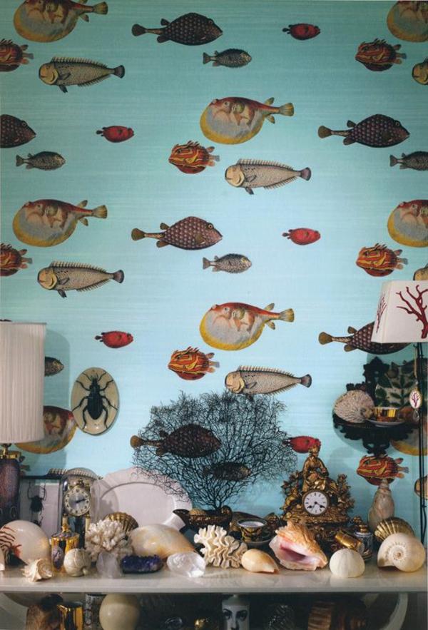 Design Tapeten Wandgestaltung : design-tapeten-ideen–designer-tapeten-mit-fischen-tapeten-design