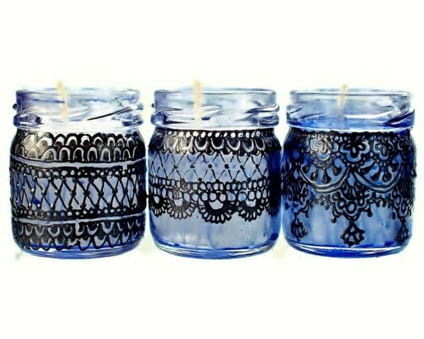 drei-Mini-Einweckglas-Kerzenhalter-marokkanischer-Stil-Henna-Muster-schwarze-Spitze