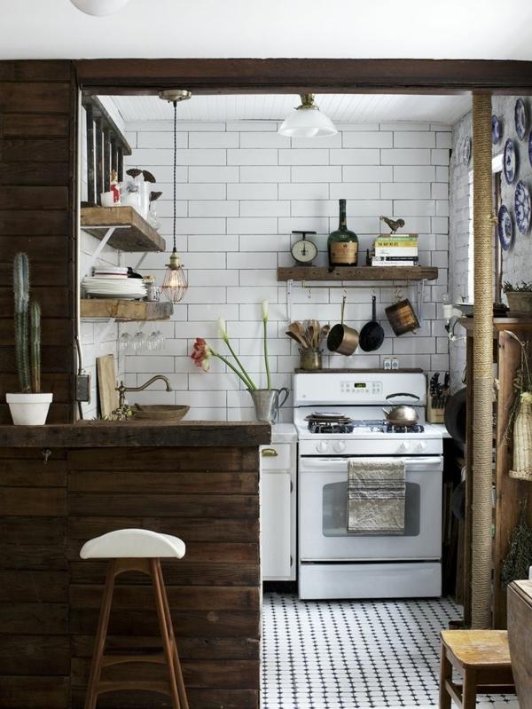 einfache-hölzerne-Landhausküchen-Herd-Regale-Holz