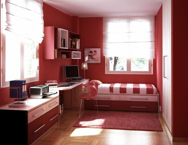 enchanting-teenage-bedroom-designs-for-girls-red-painting-walls-and-stripped-lines-red-white-bedspread-with-mickey-mouse-poster-on-the-wall-feats-rugs-also-dresser-inspiration