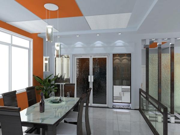 extravagante-wohnideen-für-esszimmer-coole-orange-farbe
