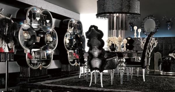 extravagante-wohnideen-für-esszimmer-dunkle-schicke-farbschemen