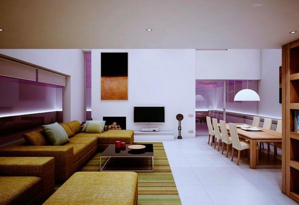 extravagante-wohnideen-für-esszimmer-grüner-teppich