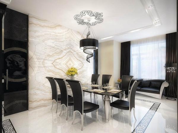 extravagante-wohnideen-für-esszimmer-weiß-und-schwarz-zusammenbringen
