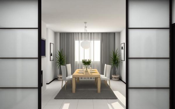 extravagante-wohnideen-für-esszimmer-weiße-schöne-schiebetüren