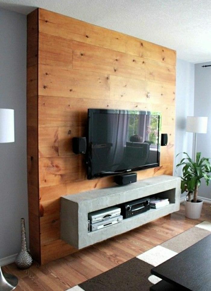 wohnzimmer tv wand ideen:fernsehwand-tv-wand-wandgestaltung-holz-schöne-wände-wohnzimmer