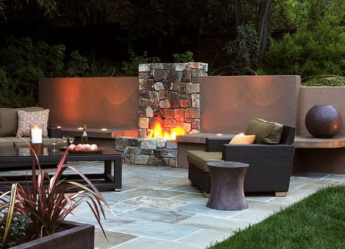 feuerstelle-für-terrasse-moderne möbelstücke