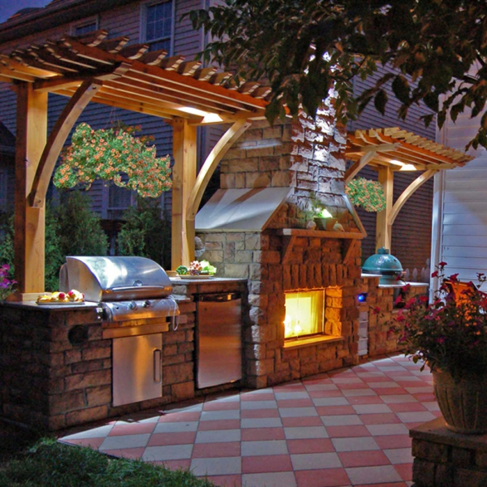 100 Outdoor Kitchen Design Ideas Photos Features: 84 Verblüffende Fotos Von Feuerstelle Für Terrasse