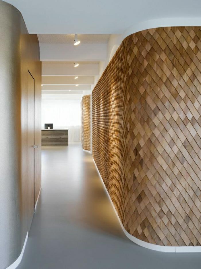 flur-wandgestaltung-holz-schöne-wände-wohnzimmer-wandgestaltung Wandverkleidung aus Holz