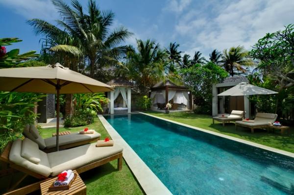 garten-pool-palmen-umgebung - moderne sonnenschirme