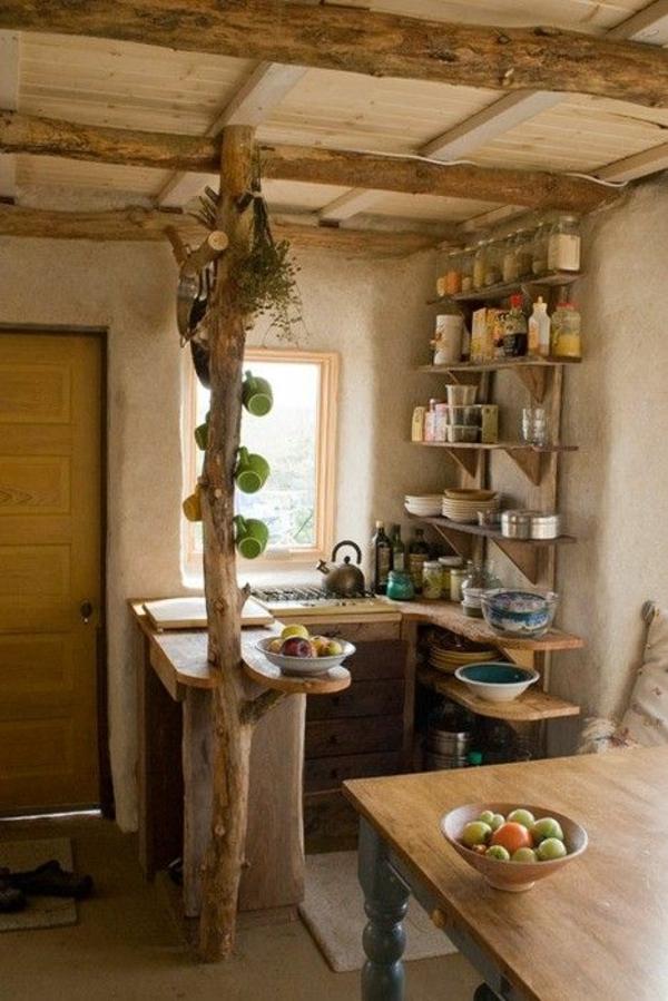 Landhausküchen-Holz-Einweckgläser-Früchte-Baum