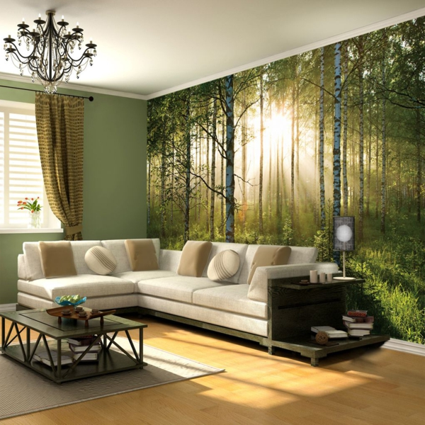 wohnzimmer deko natur:40 Ideen mit Fototapete Wald – lassen Sie die Natur ins Haus!
