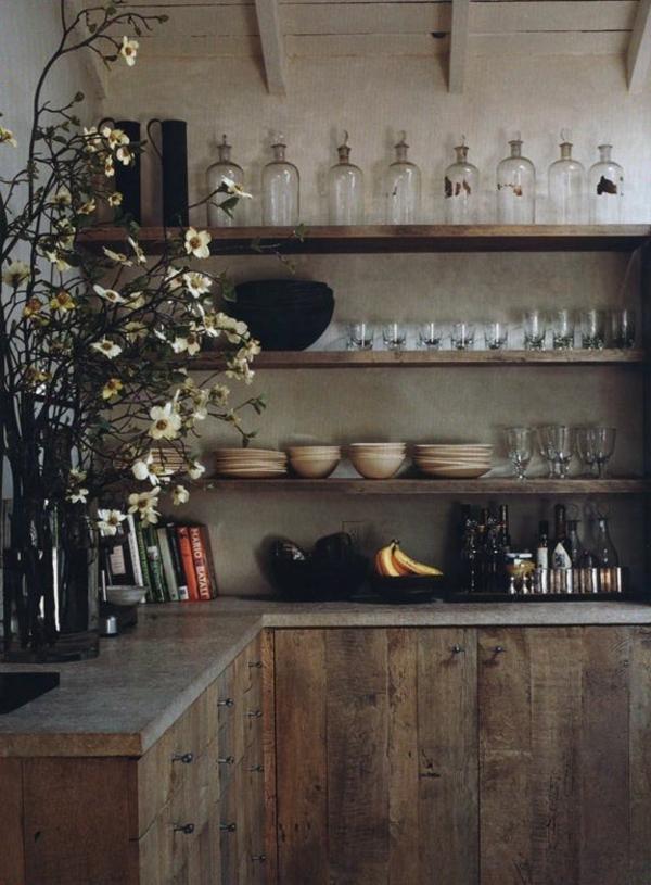 hölzerne-Küche-Blumen-Geschirr-Regale
