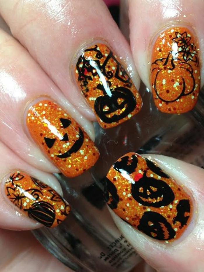 halloween-nägel-schwarze-schädel-orange-hauptfarbe
