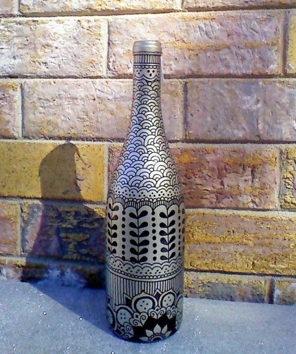 Henna-Muster-Flasche-Silber-Schwarz-Dekoration