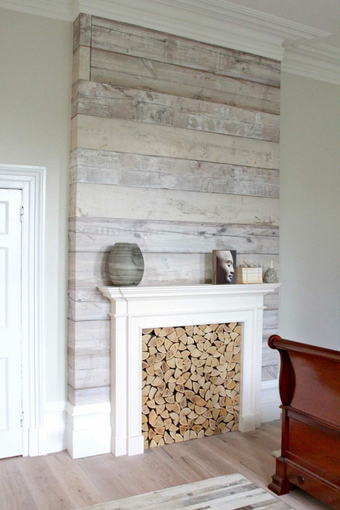 Tapete in holzoptik 24 effektvolle wandgestaltungsideen - Wood effect wallpaper living room ...