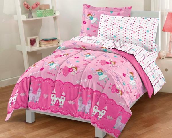 kinderzimmer--mädchenzimmer-rosa-bettwäsche-schlafzimmer-inspiration-einrichtungsideen-kinderzimmer Bettwäsche in Rosa