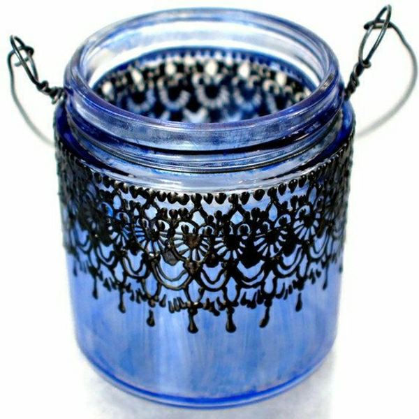 kleiner-hängender-Kerzenhalter-marokkanisch-Blau-schwarze-Spitze-Henna