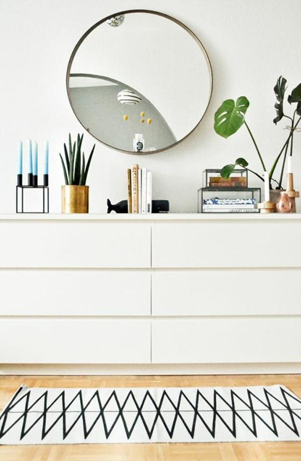 kommode-für-flur-runder-spiegel - kommode in weiß