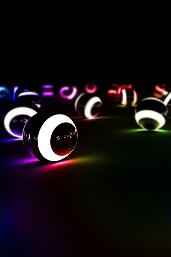 leuchtende-Designer-Billardkugeln-im-Dunkeln