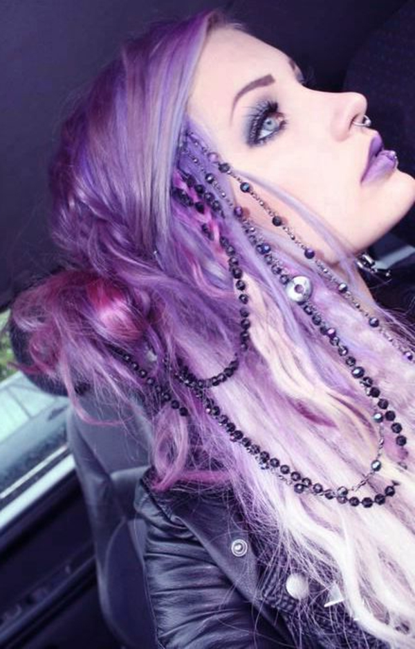lila-haare-extravaganter-look - tolles aussehen