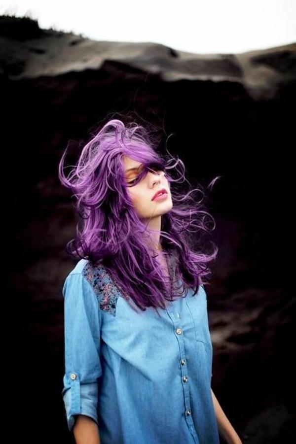 lila-haare-ungezwungener-look - super look