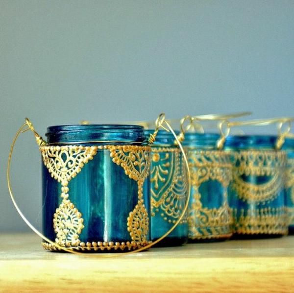 marokkanische-hängender-Einweckglas-Kerzenhalter-Blau-goldener-Henna-Muster