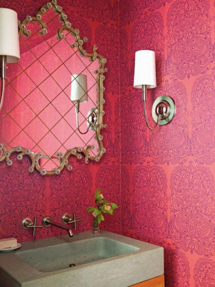 moderne-Tapeten-Badezimmer-rot-Dekoration