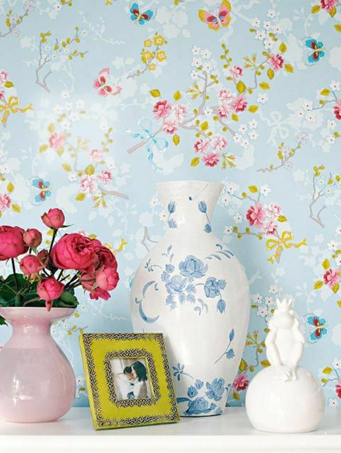 moderne-Tapeten-Blumen-Druck-Frühling-Design