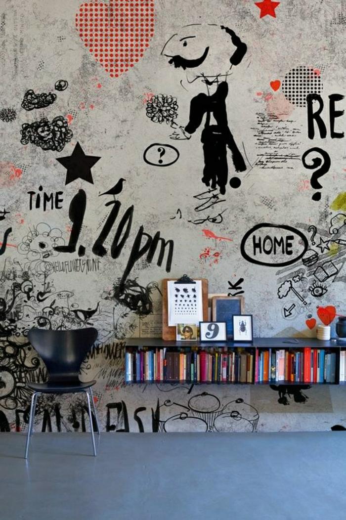moderne-Tapeten-avantgarde-Wand-Dekoration-Stuhl-Bücherregal