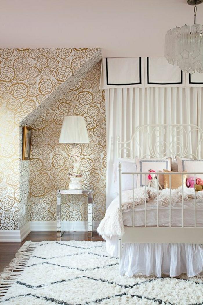 moderne-Tapeten-goldene-Rosen-Dekoration