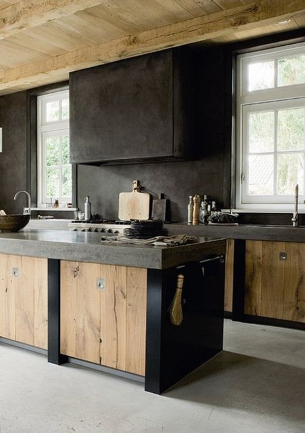moderne-rustikale-Küche-Fenster-Küchenschränke