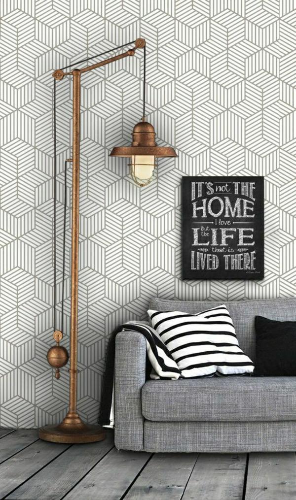 moderne-tapeten-grau-wohnzimmer-wandgestaltung