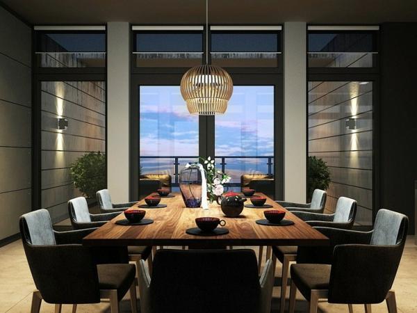 modernes-esszimmer-schicke-schwarze-stühle