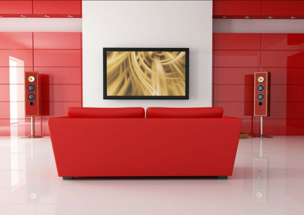 wohnzimmer in rot gestaltet kreative deko ideen und