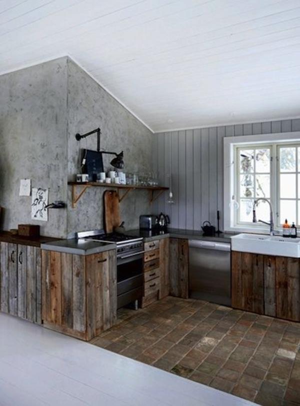 norwegische-hölzerne-Küche-graue-Wände-Fenster