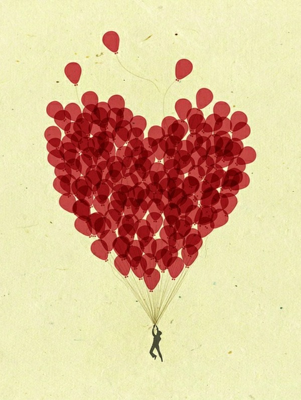 rote-Ballone-Herzen-Form-Fallschirm-Mann-fliegend