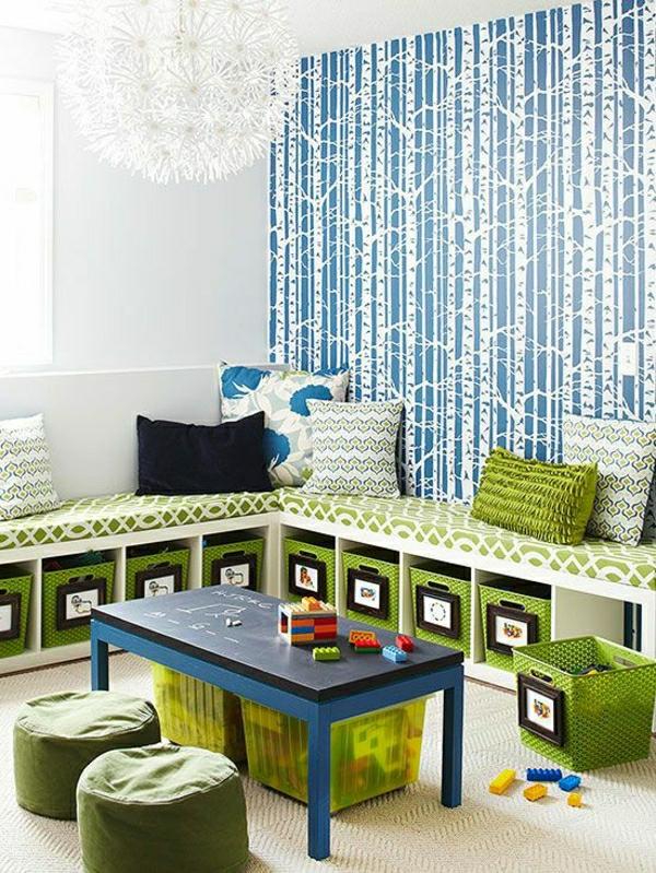 schöne-blaue-tapete-kinderzimmer-tapeten-kinderzimmer-wandgestaltung-kinderzimmer-ideen-kinderzimmer Kinderzimmer Tapete