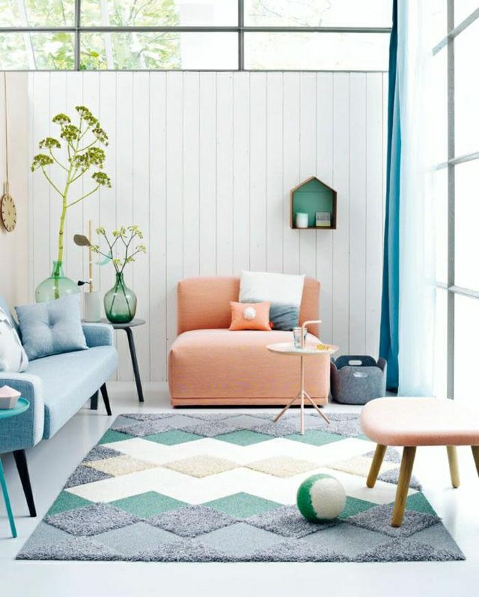 wohnzimmer pastellfarben:Pastell Farbpalette bei der Inneneinrichtung – 47 Ideen