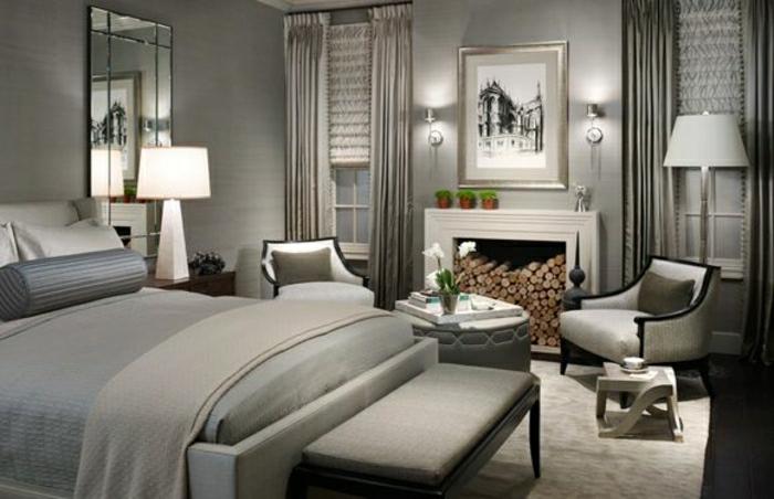 Tapete In Grau - Stilvolle Vorschläge Für Wandgestaltung ... Tapeten Design Ideen Schlafzimmer