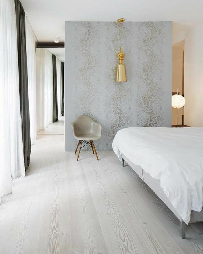 tapete in grau - stilvolle vorschläge für wandgestaltung, Schlafzimmer entwurf