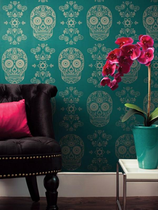 schöne-tapeten-wohnzimmer-tapeten-grün