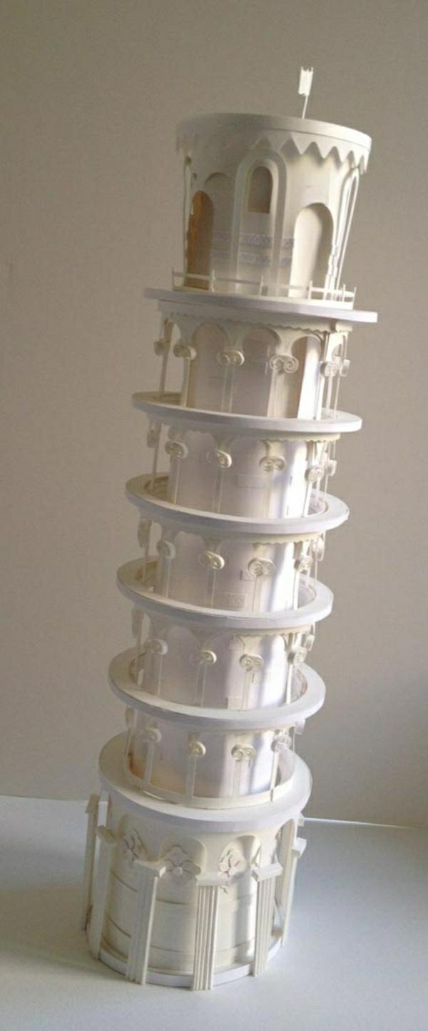 schiefer-Turm-Papierkunst-Art