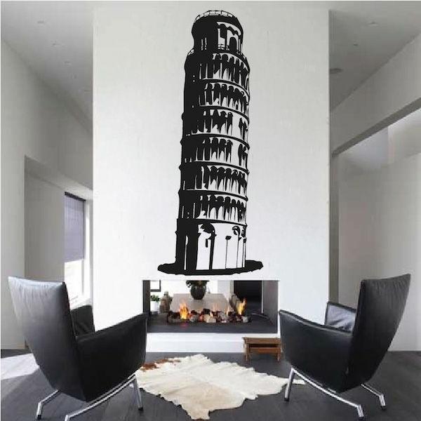 schiefer-Turm-von-Pisa-Wand-Tattoo-Kamin