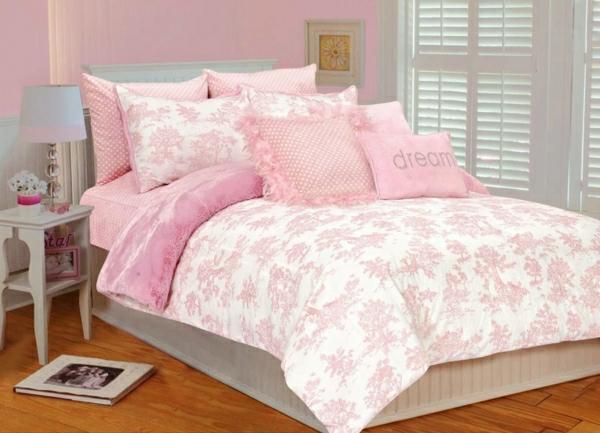 schlafzimmer-einrichten-schöne-bettwäsche-rosa-schlafzimmer-ideen-elegante-bettwäsche---