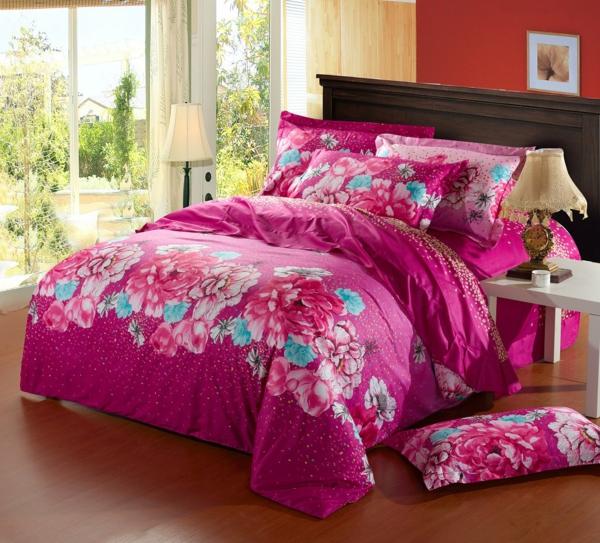 -schlafzimmer-einrichten-schöne-bettwäsche-rosa-schlafzimmer-ideen